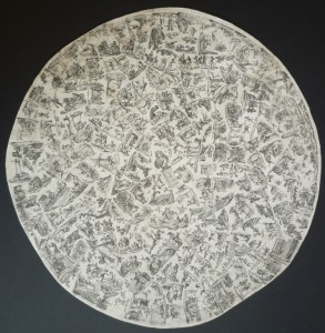 Paroy's engraving is printed on a single sheet of paper and trimmed to a circle 17.25 inches in diameter.
