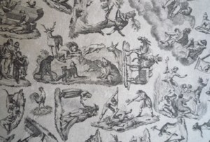 Detail showing arrangement of various scenes.