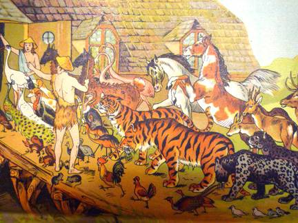 Animals being herded onto the Ark, two-by-two, with one tiger looking quizzical and one horse perhaps having second thoughts?