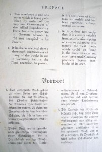 """Preface to the post-war edition, printed in English and German Fraktur, stating that its """"issue does not imply that it is entirely suitable"""""""