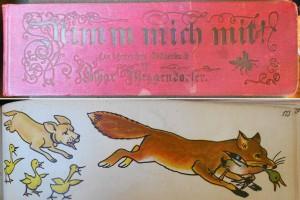 Lothar Meggendorfer, Nimm mich mit! Ein lehrreiches Bilderbuch, 5th ed. (Munich: Braun & Schneider, c. 1890), cover and p. 173.