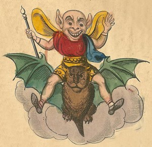 imp riding a bat