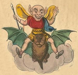 imp riding a bat