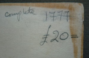 Bookseller's penciled notes on front endpaper (facing pastedown)