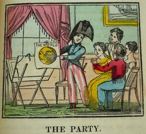 "Teaching Geography: hand-colored wood engraving, ""The Party,"" from The Little Traveller (Dean & Monday, [ca. 1830])"