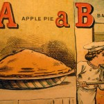 From Apple to Apple Pie... Chromolithographed illustration from Aunt Lely's Picture Alphabet (McLougliin Bros., [between 1863 and 1866]) Cotsen 4393
