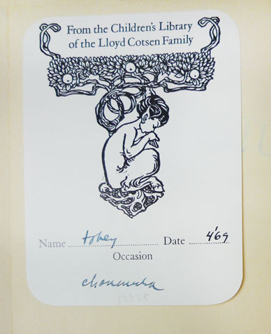 Cotsen Family Bookplate, free endpaper verso, 10320