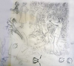 An early sketch for the scene, which appears on page 31 of first American edition (Box 3, file 18).