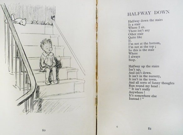 "Pages 80-81, ""Edward Bear"" can be seen at the top of the stairs; while a very familiar boy sits on the stairs. (Cotsen 10411)"