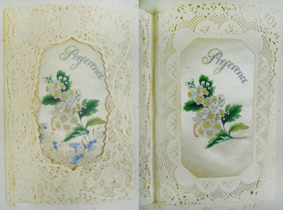 "Card on leaf [30], ""From Mama 1878""."