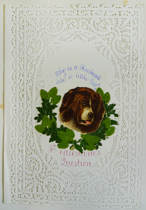 "Card at top of leaf [6], unfortunately, we might never know ""What makes a husband like a little dog""."