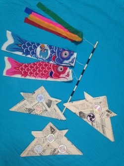 Fig. 14: Origami newspaper kabuto helmets and other Children's Day decorations. Contributed by the author.