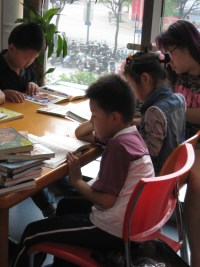 young readers in a Shanghai district public library