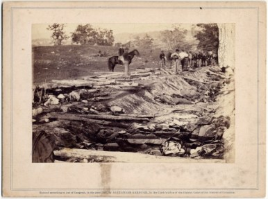 Alexander Gardner, View of Ditch Which Had Been Used as a Rifle Pit at the Battle of Antietam, 1862.