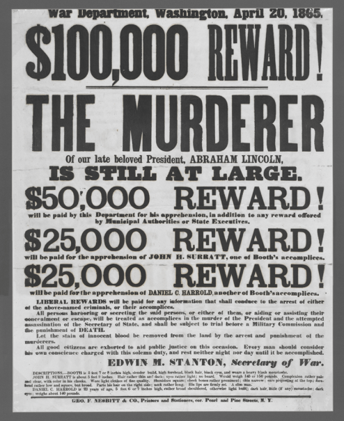 $100,000 Reward! (New York, 1865). Not to be reproduced without permission of the Princeton University Library.