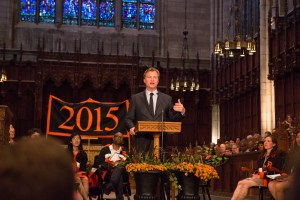 """During his Class Day address, film director, screenwriter and producer Christopher Nolan challenged seniors to help improve the world by chasing their reality, not just their dreams. Nolan is known for the films """"The Dark Knight"""" Batman trilogy and """"Inception"""" among others. Photo: Princeton University, Office of Communications, Denise Applewhite (2015)"""