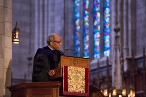 Randall Kennedy, a member of the Class of 1977, former Princeton trustee, and the Michael R. Klein Professor of Law at Harvard Law School, emphasizes the importance of supporting higher education in his Baccalaureate address. Photo: Princeton University, Office of Communications, Denise Applewhite (2016)