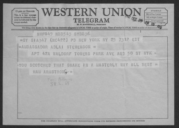 Telegram from Hamilton Fish Armstrong.