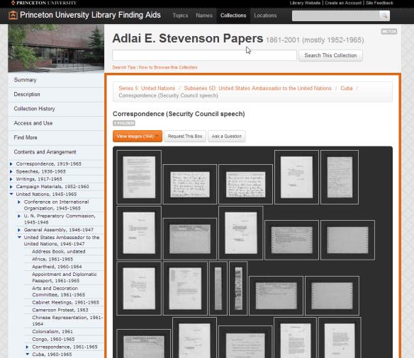 Browsing Adlai Stevenson correspondence