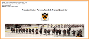 This screenshot from AC359 Tiger Hockey Email Newsletters is an example of how a PDF conversion of email correspondence condenses header information and limits searching.