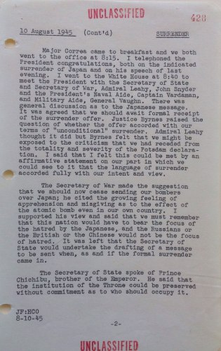 Forrestal Diary entry for August 10, 1945