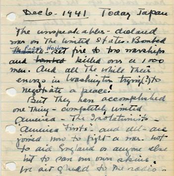 Margaret_Dodds_Pearl_Harbor_diary_entry_AC117_Box_179_Folder_8