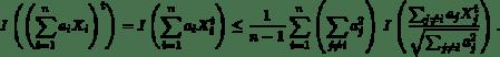 \begin{equation*}I\left(\left(\sum_{i=1}^{n}a_{i}X_{i}\right)^{t}\right)=I\left(\sum_{i=1}^{n}a_{i}X_{i}^{t}\right)\leq \frac{1}{n-1}\sum_{i=1}^{n}\left(\sum_{j\neq i}a_{j}^{2}\right)\, I\left(\frac{\sum_{j\neq i}a_{j}X_{j}^{t}}{\sqrt{\sum_{j\neq i}a_{j} ^{2}}}\right). \end{equation*}