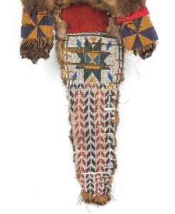 """Detail of beadwork on Princeton's """"Woompa"""" bag. Beaded Otterskin Bag, 19th Century, Gift of Huguette Hoguet. Museum Objects Collection."""