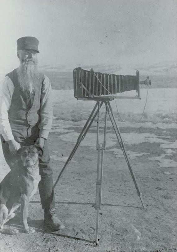A.G. Wallihan with His Dog and Camera.