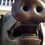 Close-up of pig sculpture