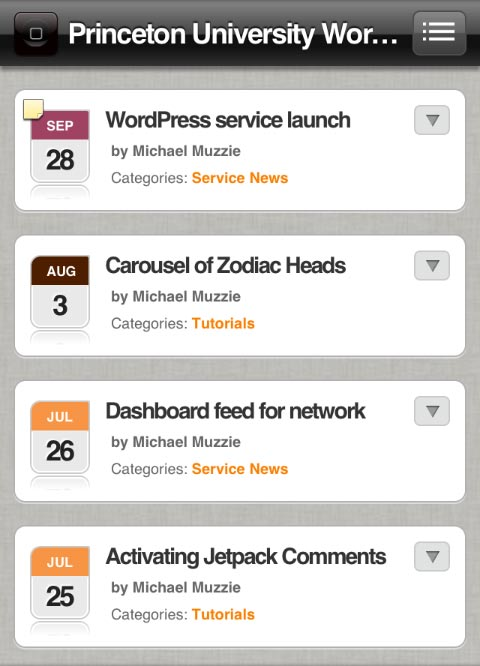 WPtouch Pro with calendar images