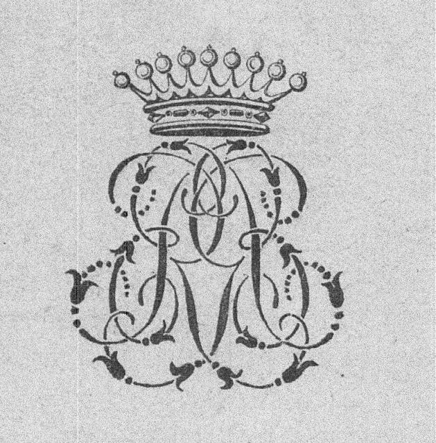 Monogram binding stamp: ER with coronet: Comte Roger du