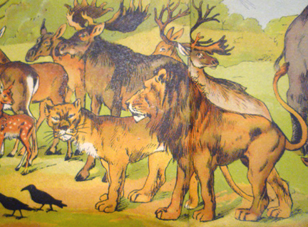 While most animals are depicted placidly, as per the usual description, Mrs. Lion looks none too pleased, a nicely humorous touch.