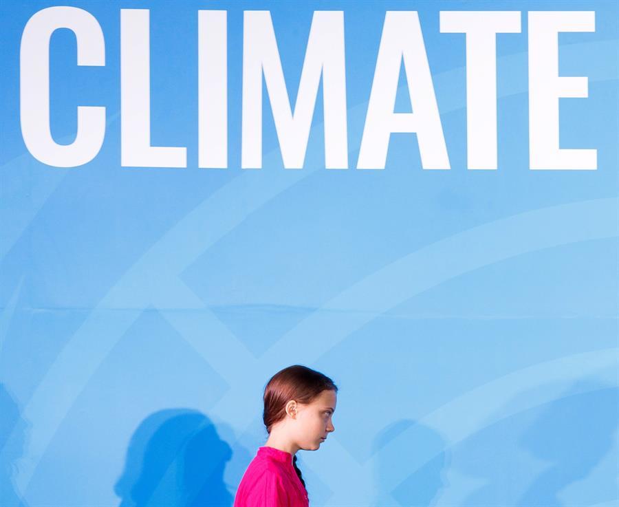 La activista sueca Greta Thunberg, antes de su intervención la Asamblea General de las Naciones Unidas en Nueva York. EFE/Justin Lane