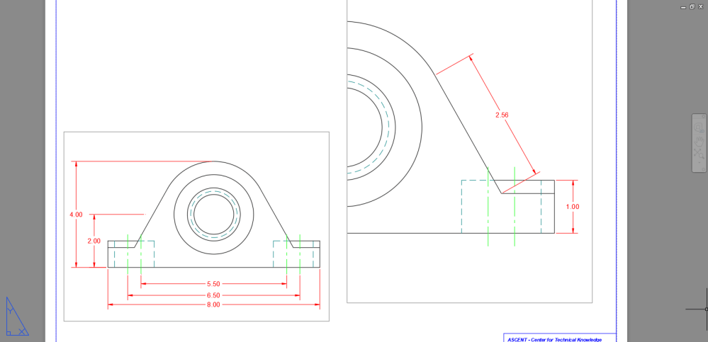 medium resolution of the above drawing shows the paper space with two similar viewports both viewports have the hidden lines shown