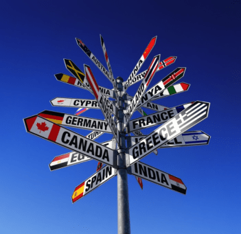 A signpost on a blue sky background, with arrows indicating different countries
