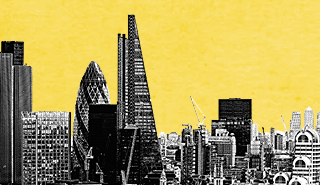 black and white London cityscape against a yellow background