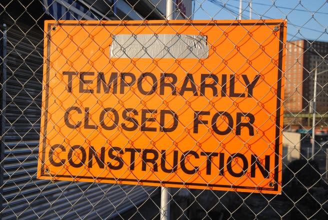 Temporarily closed for construction sign