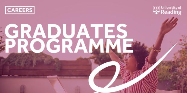 Text: graduates programme. Image: Happy person