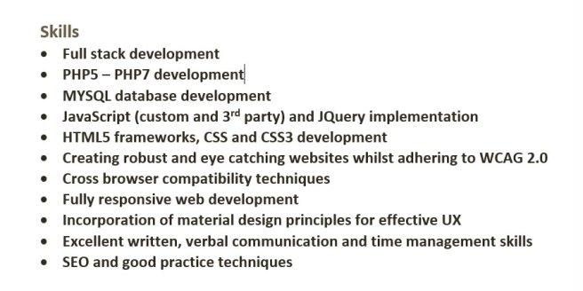 List of skills on a CV example