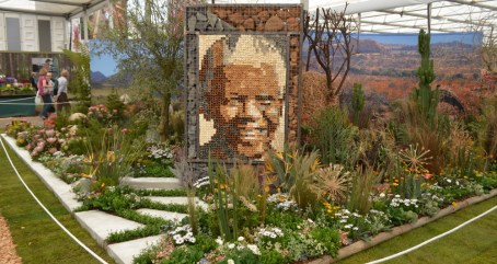 This year's Kirstenbosch stand features a mosaic of Nelson Mandela