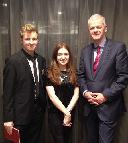 Rob Lowe and Kate Goudsmit with Sir David Bell.