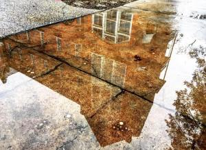 photograph of Manly Hall reflected in a rain puddle