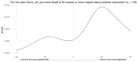 When you think of the near future, are you more afraid of AI misuse or more hopeful about positive outcomes?