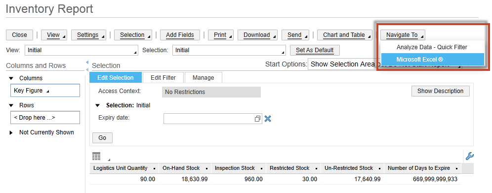 Reporting with the Excel-Add-In