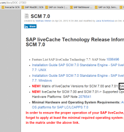 this is very basic information for the scm 7 0 here we are interested in sap note 2074841 click the note then we will see the matrix  [ 1146 x 800 Pixel ]