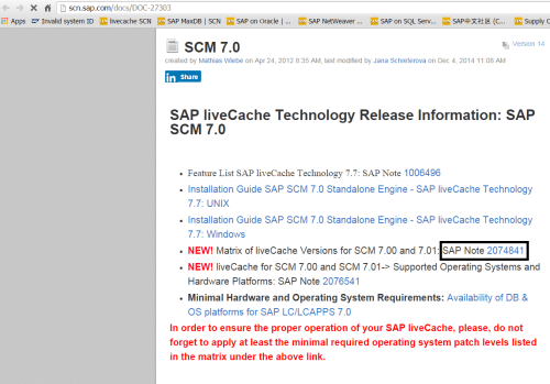small resolution of this is very basic information for the scm 7 0 here we are interested in sap note 2074841 click the note then we will see the matrix