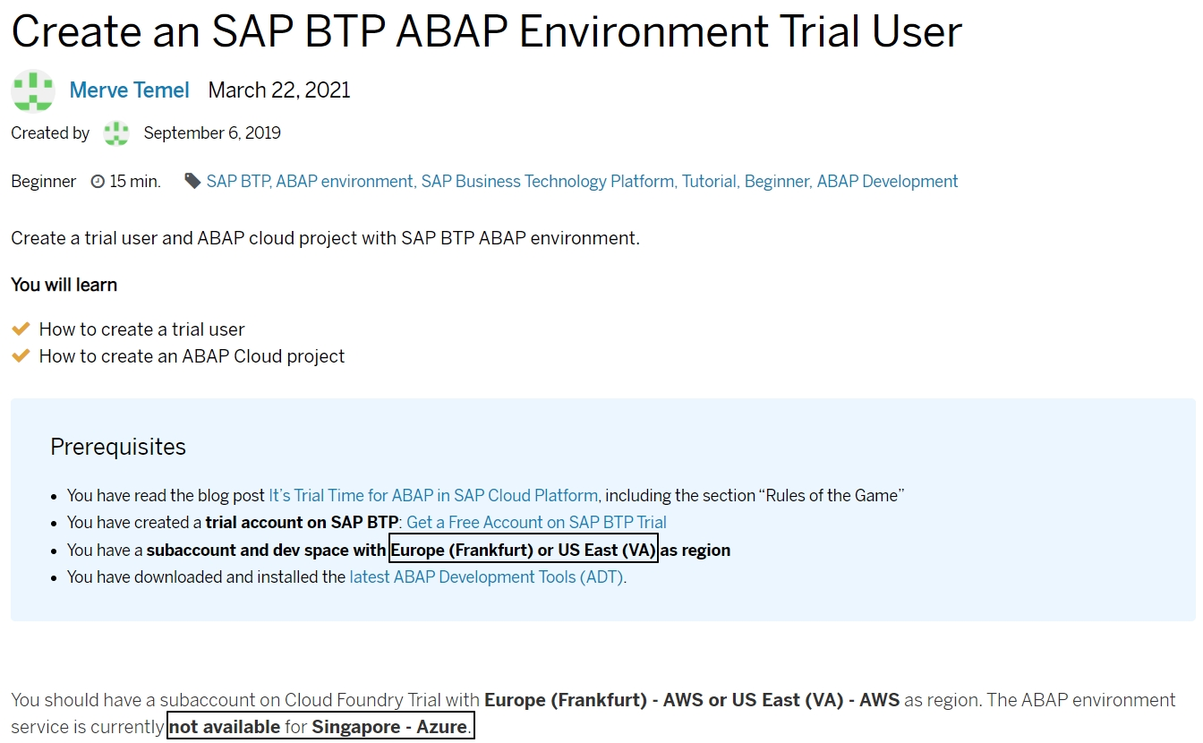 pix Currently Not Available sap btp abap environment trial user