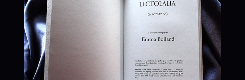 'LECTOLALIA' by Emma Bolland - image property of Emma Bolland. Title page.