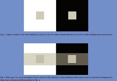 A colour contrast illusion.